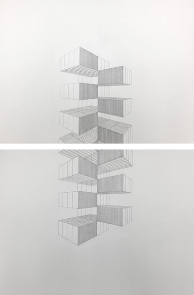 "Up and Down / graphite on paper / 2 sheets (22 x 30"" each)"