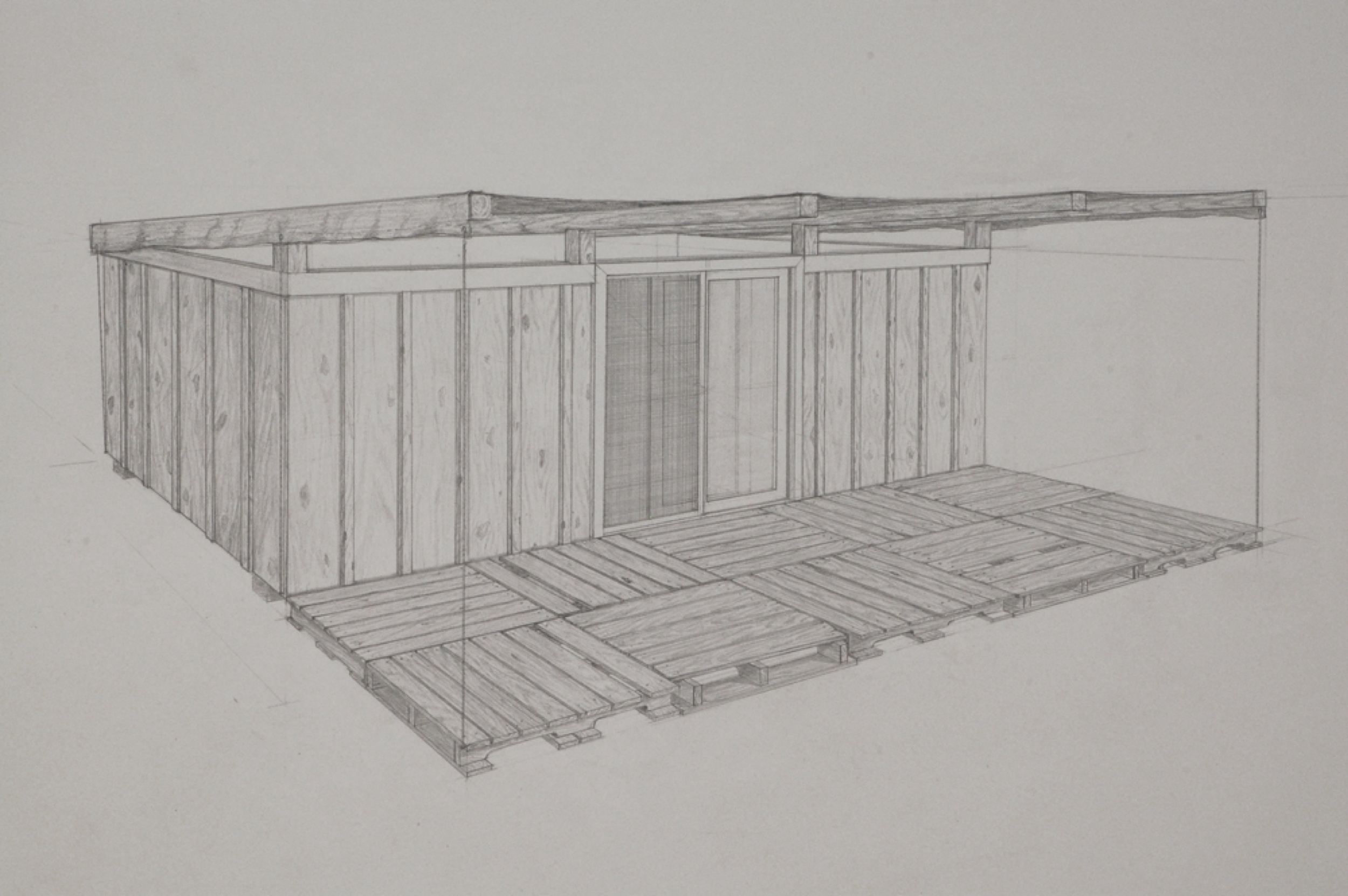 Dumpster 3 (detail) / graphite on paper / 22 x 30""