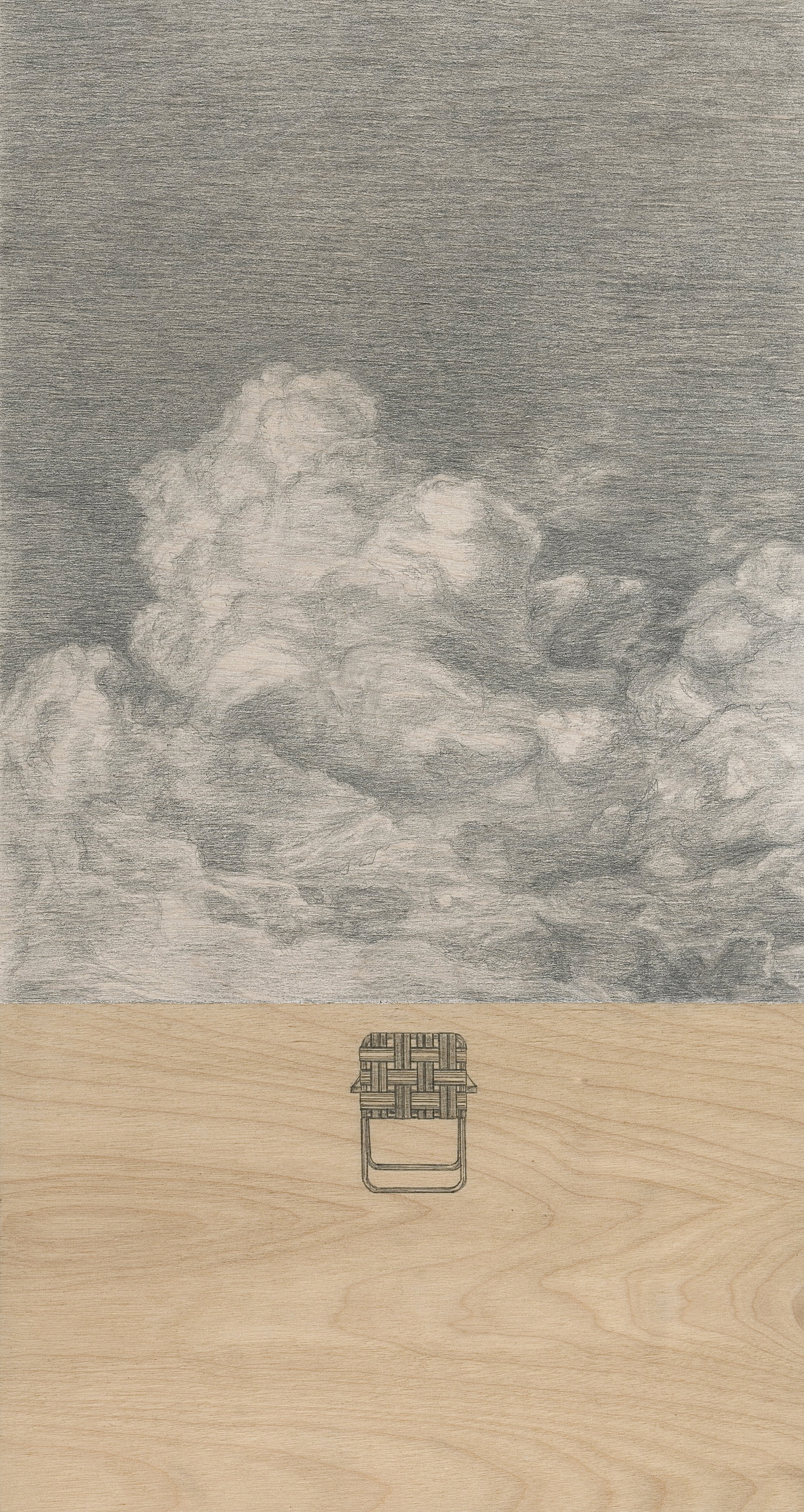 "Clouds and Chair / graphite and stain on birch panel / 13 x 7"" / SOLD"