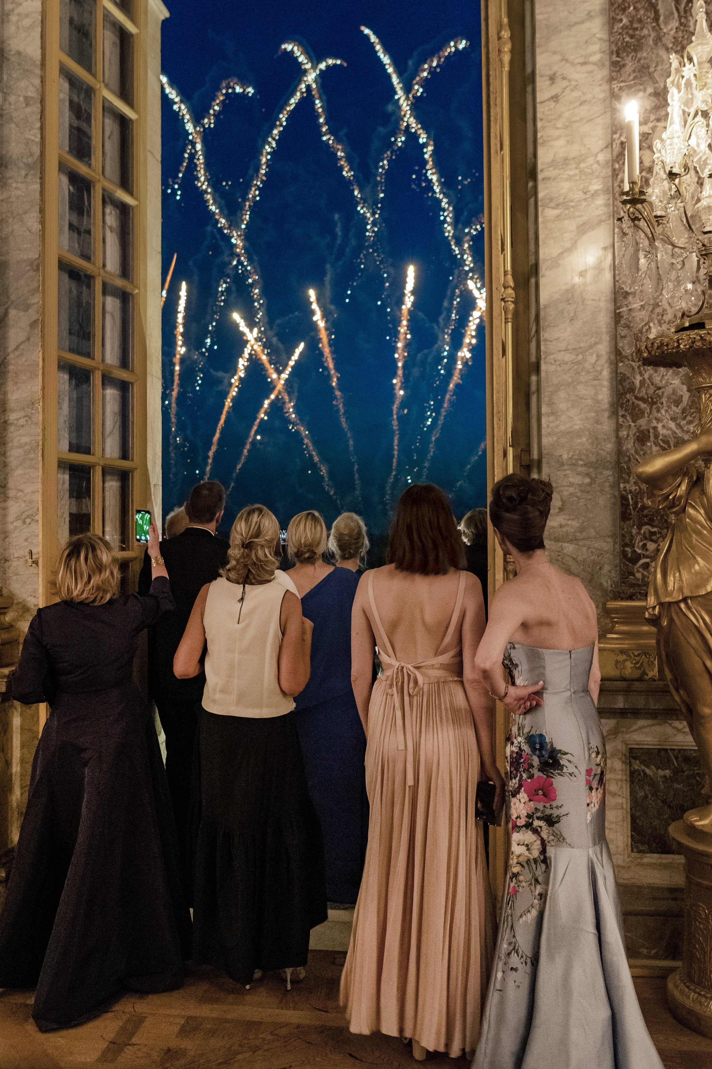 Fireworks at American Friends of Blerancourt at the Centennial of the Signing of the Treaty of Versailles at The Palace of Versailles in Versailles on 06/28/2019 (photo by Annie Watt Agency / Sipa USA)