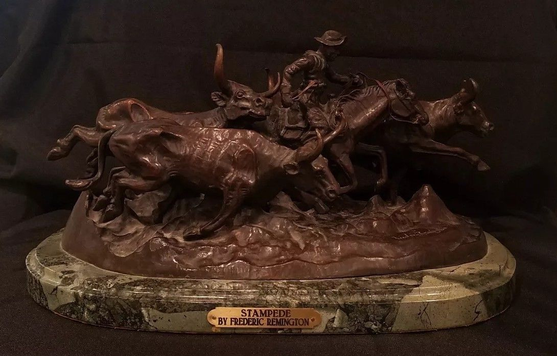 """stampede"" lost wax bronze statue sculpture by Frederic remington  $1,799.99 or best offer!"