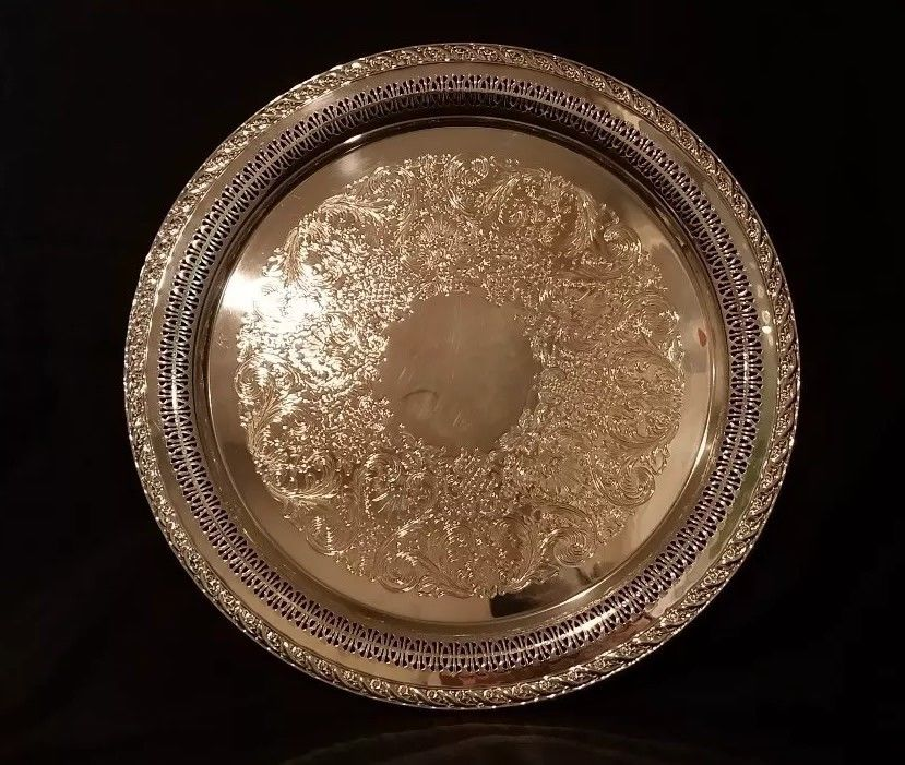 Vintage ornate silver plate round tray/serving platter, international silver co - $45.00