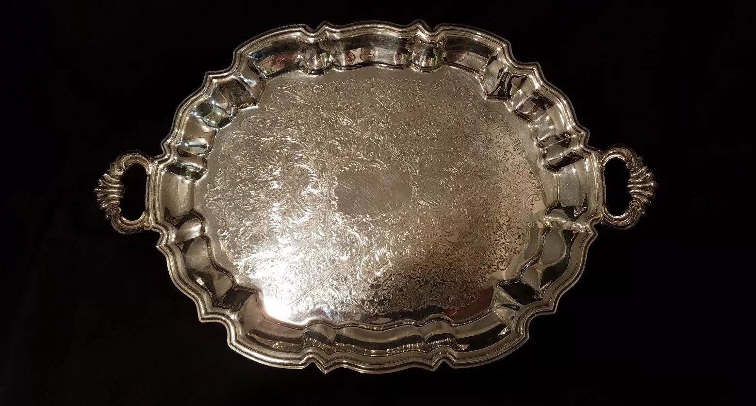 "Vintage Silver Footed Serving Tray 17""   $59.99"
