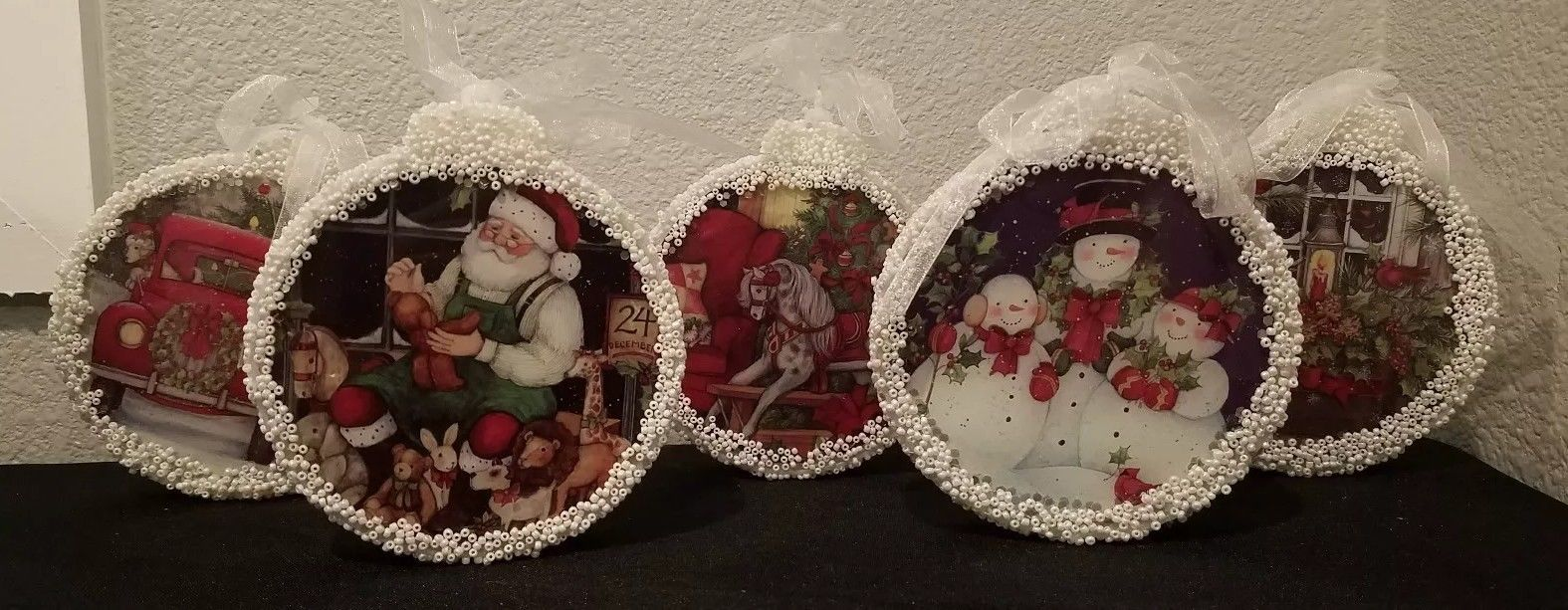 Christmas scene illuminated ornaments by Valerie (set of 5)  $32.00