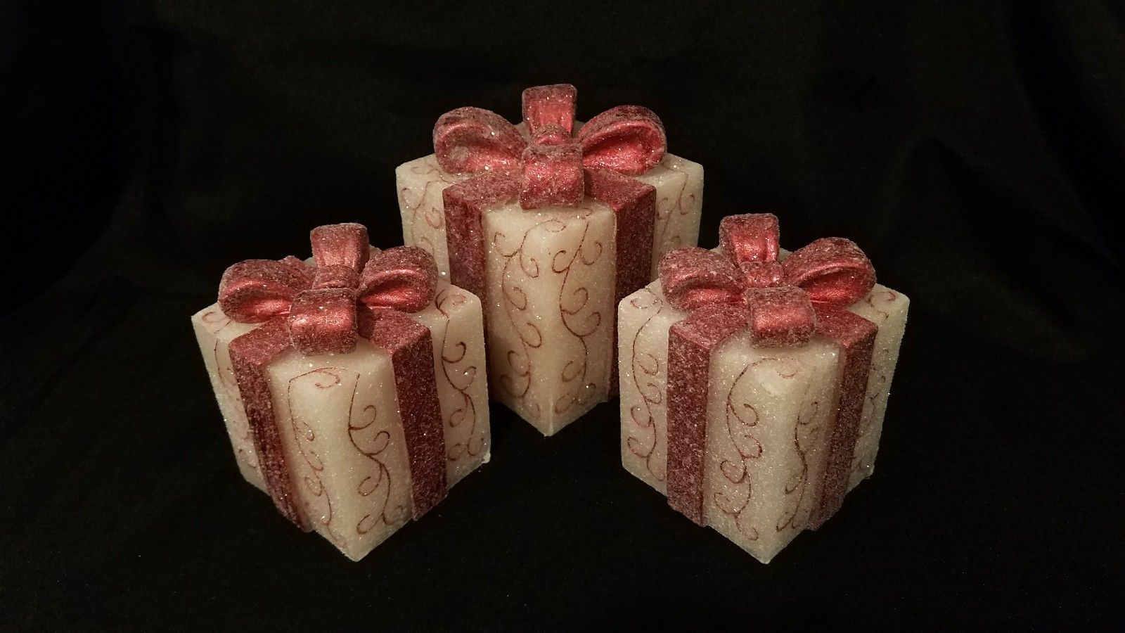 illuminated wax gifts with bows set of 3  $32.99