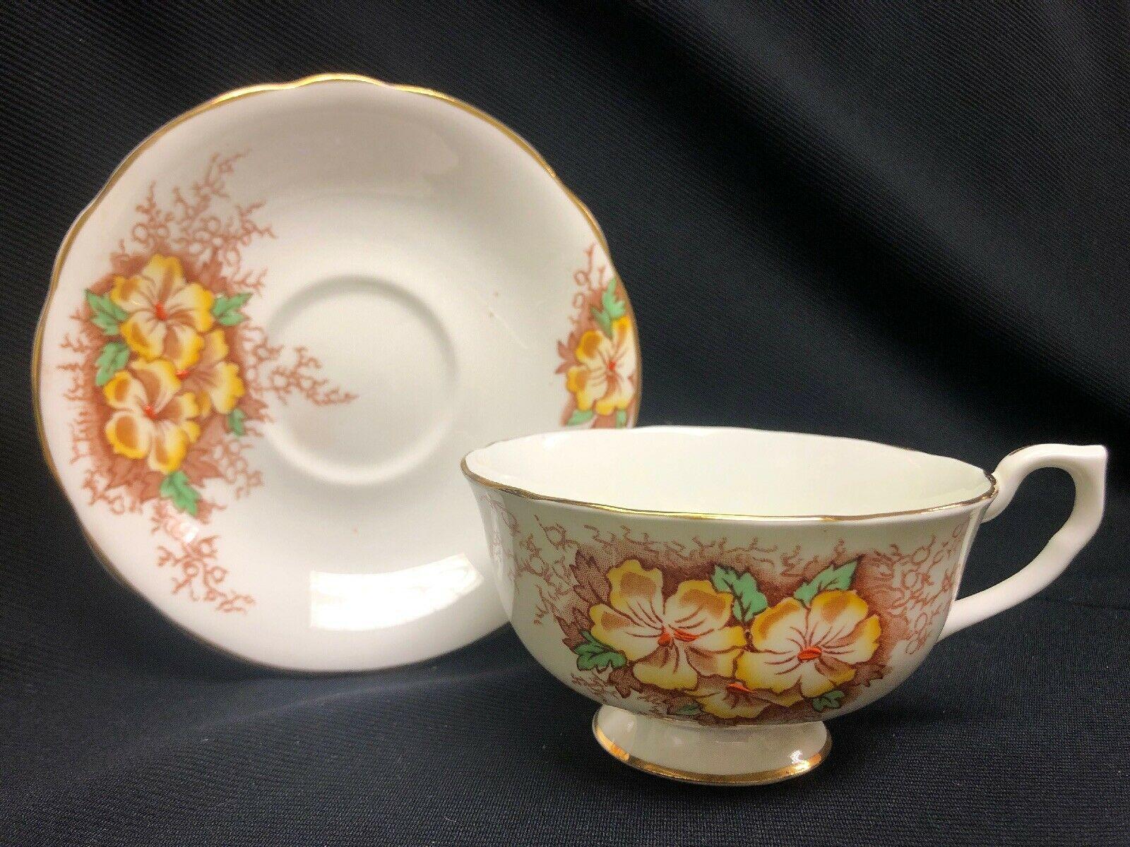 Clarence Bone China England Tea Cup & Saucer Yellow Flowers    $12.99