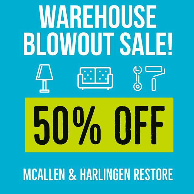 Don't miss our #blowout #sale at both #Habitat ReStores!! 50% OFF! 💥