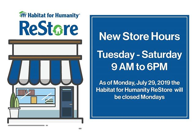 New store and office hours starting this week: Tuesday through Saturday 9 am to 6 pm