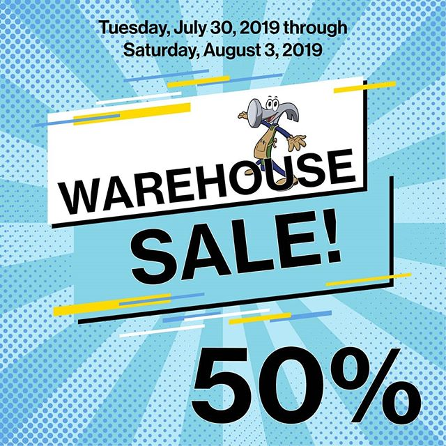 50% off warehouse sale this week!
