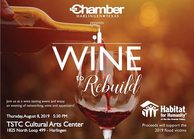 Wine to Rebuild is this Thursday, August 8. Don't miss out on delicious appetizers and decadent desserts and wine. Visit https://www.habitatrgv.org/wine-rebuild-event to purchase tickets or sponsorship opportunities.  All proceeds will benefit the June 2019 flood victims. #habitatrgv #habitatforhumanity #flood #rebuild @harlingencofc