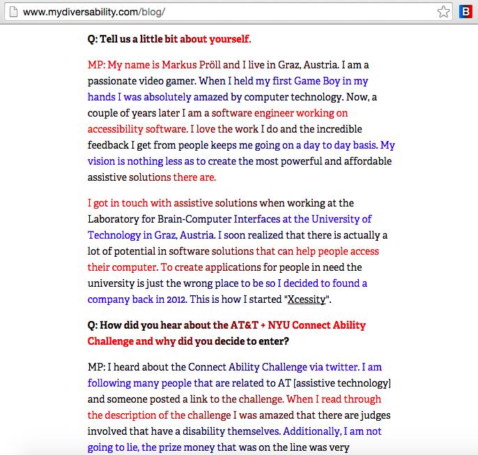 Diversability blog using BeeLine Reader