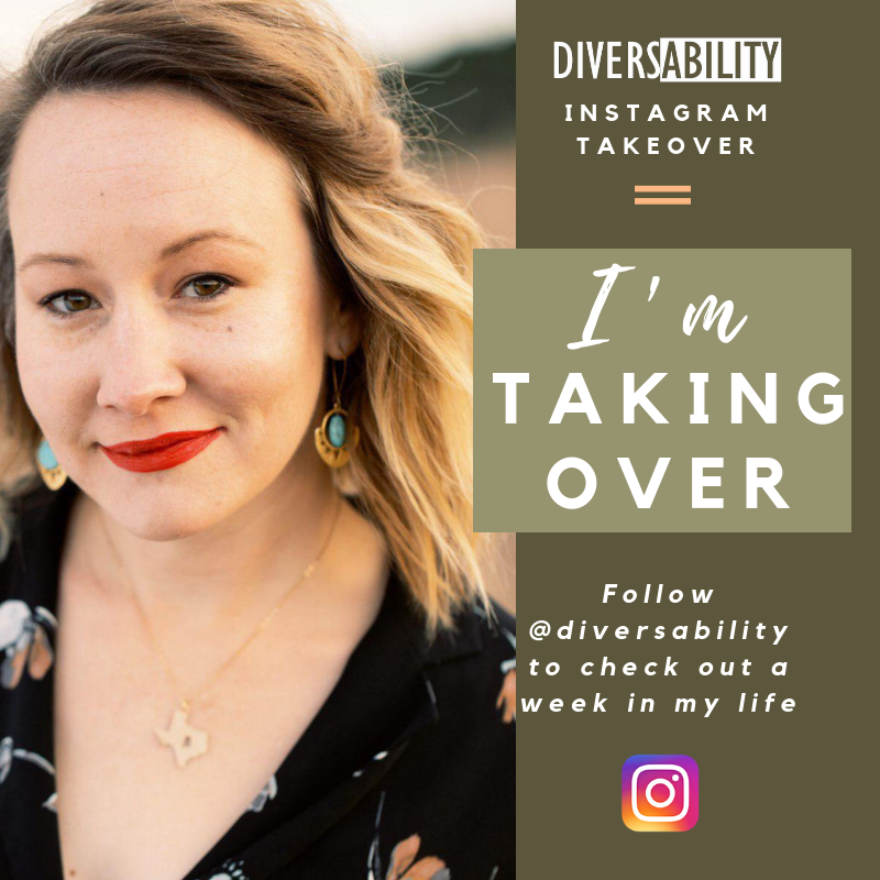 """[Image Description: A graphic is split into two parts. The left side shows a woman smiling at the camera. She wears a black dress with a gold necklace and earrings.. The right side has an olive green background. At the top, white text reads, """"Instagram Takeover"""" beneath the white Diversability logo. In a lighter green box, white text reads, """"I'm taking over"""". Beneath it, white text reads, """"Follow @Diversability to check out a week in my life."""" Beneath the text, there is a multicolored Instagram logo.]"""