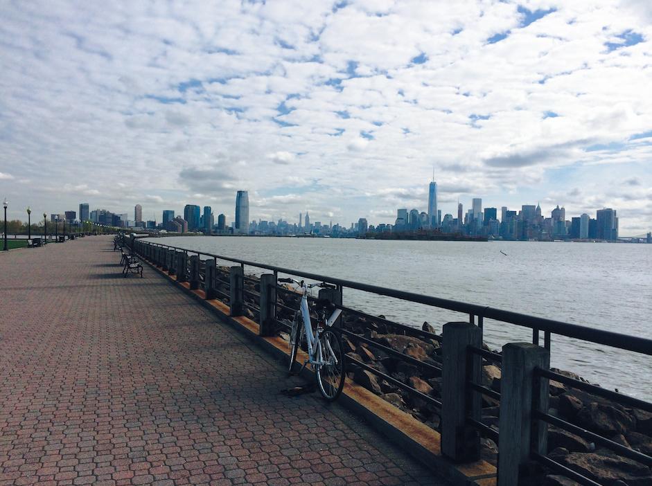 Hudson RiverWaterfront Walkway overlooking One World Trade Center