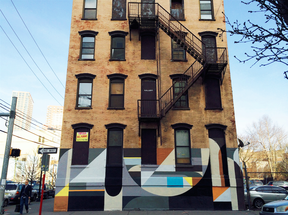 Street art on a building in Downtown Jersey City