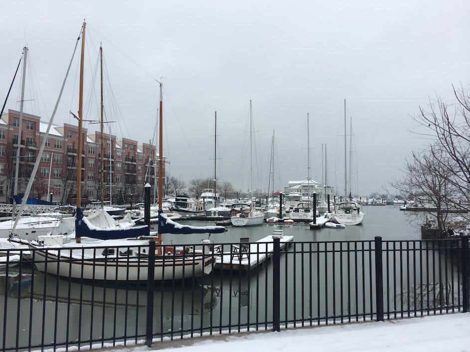 Snow-covered Liberty Landing Marina
