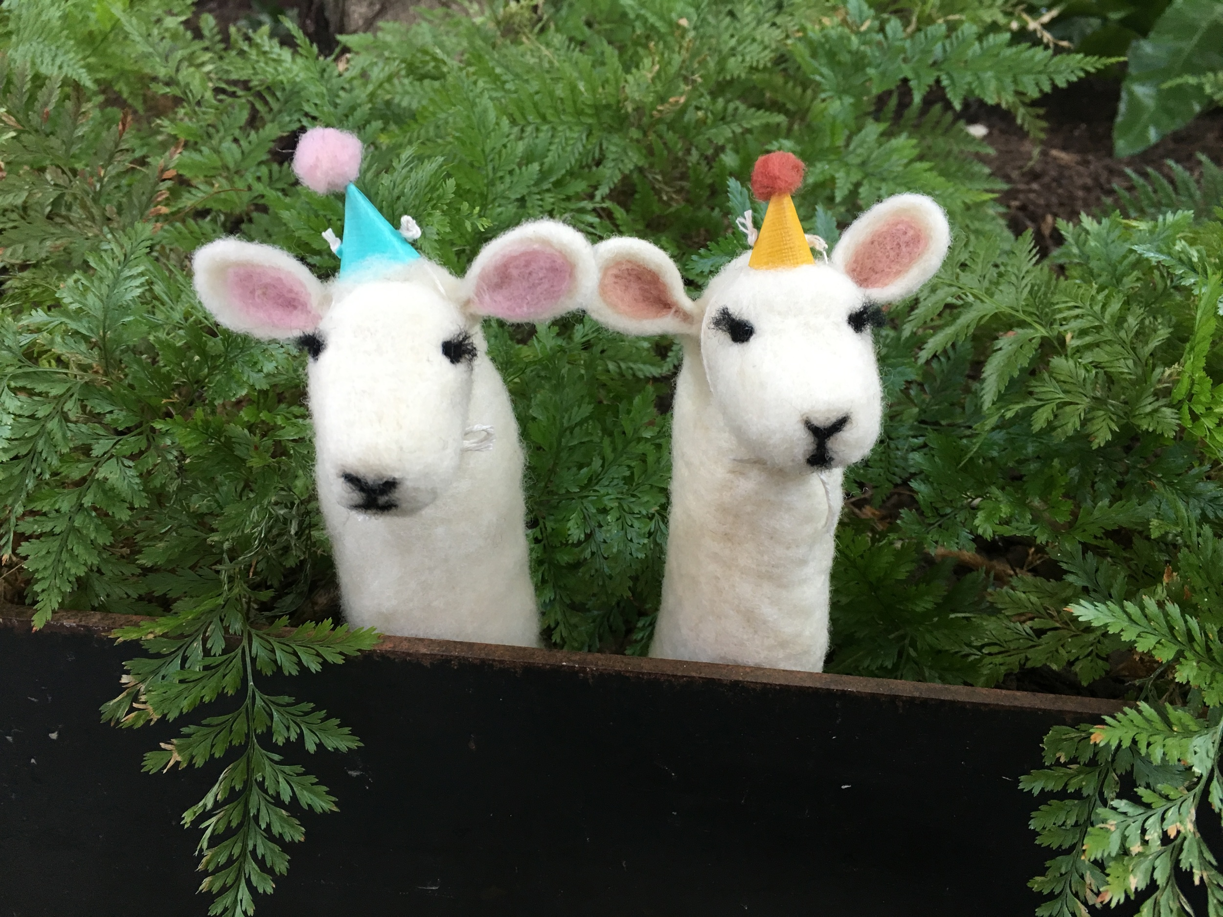 Adorable lamb finger puppets my mom and I made in  Jocelyn Krodman 's addictive needle felting workshop - the felting world hasn't seen the last of me!