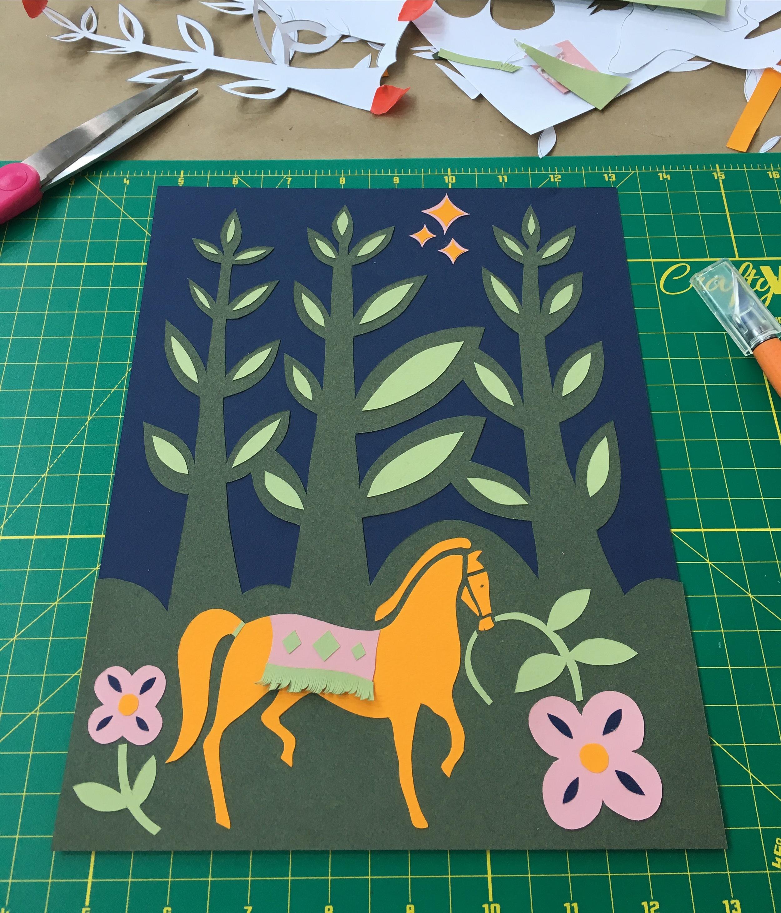 The folk-art inspired papercut creation I made in  Elsa Mora 's soulful workshop...