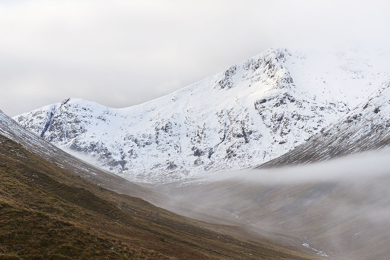 Stob Coire Sgreamhach makes an appearance as a misty blanket slips down the hillsides; a gift from the cold tops to the glen below.