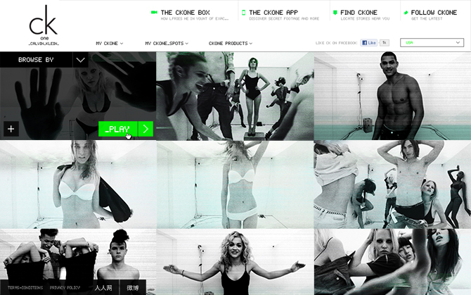CK One's eCommerce microsite featured UGC, campaign videos, & limited-edition clothing/fragrance.