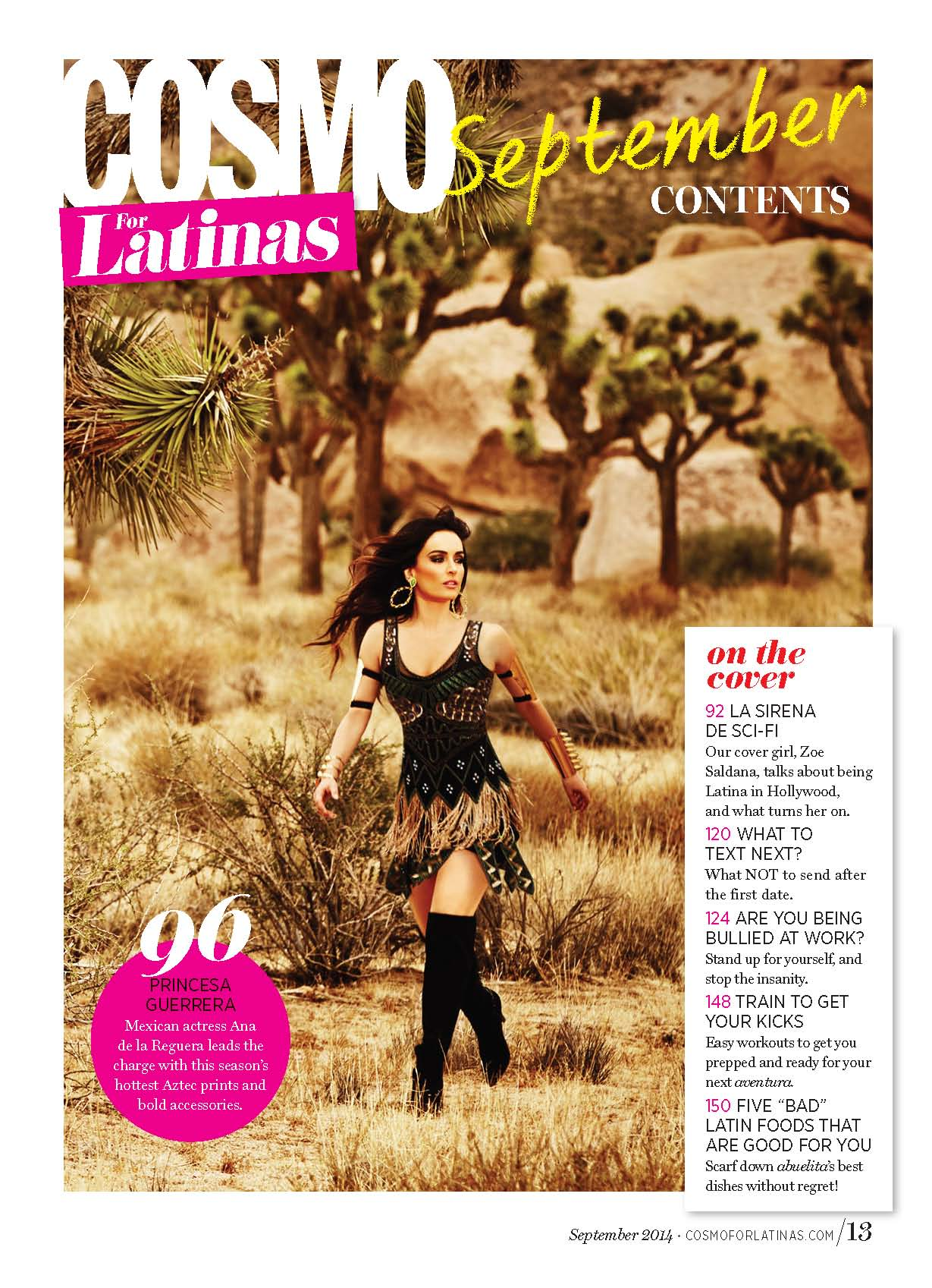 Cosmo for Latinas Magazine TOC. Photo: Tom Corbett.