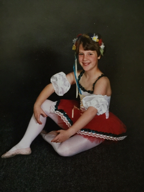 """Chubby"" ballerina, ballet school photo - circa 1987 (P.S. I remember feeling like my thighs looked fat in this photo.)"