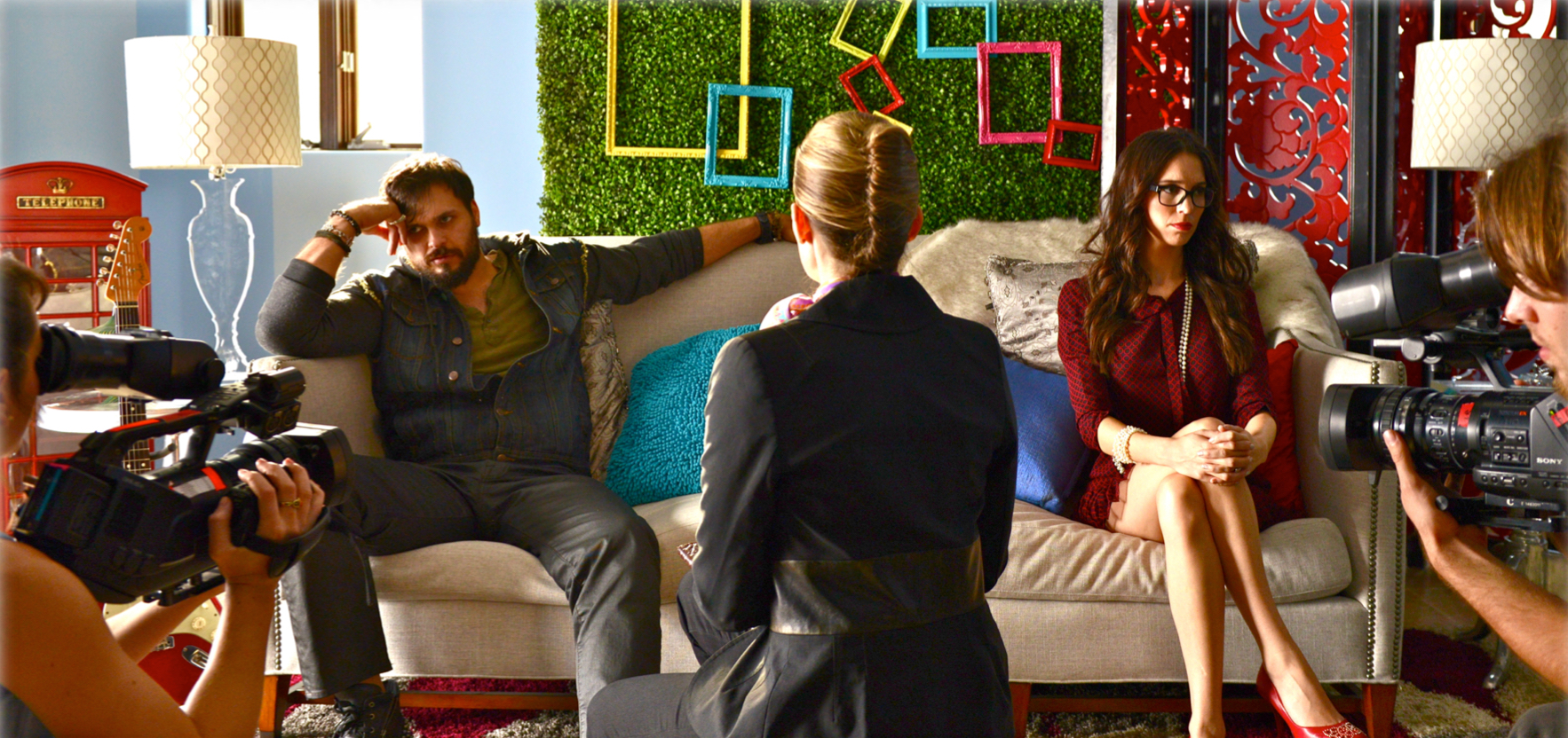 MAX DECKER and CHRISTY CARLSEN ROMANO on the set of REAL LOVE (Short Film '14)