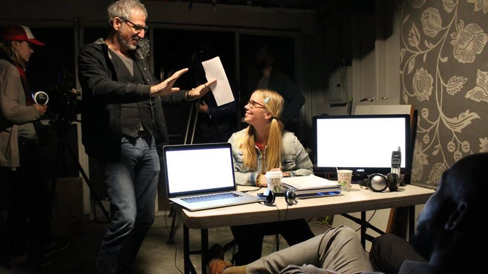 Director LEE ARONSOHN between takes with Creator/Actress KATHRYN CORD