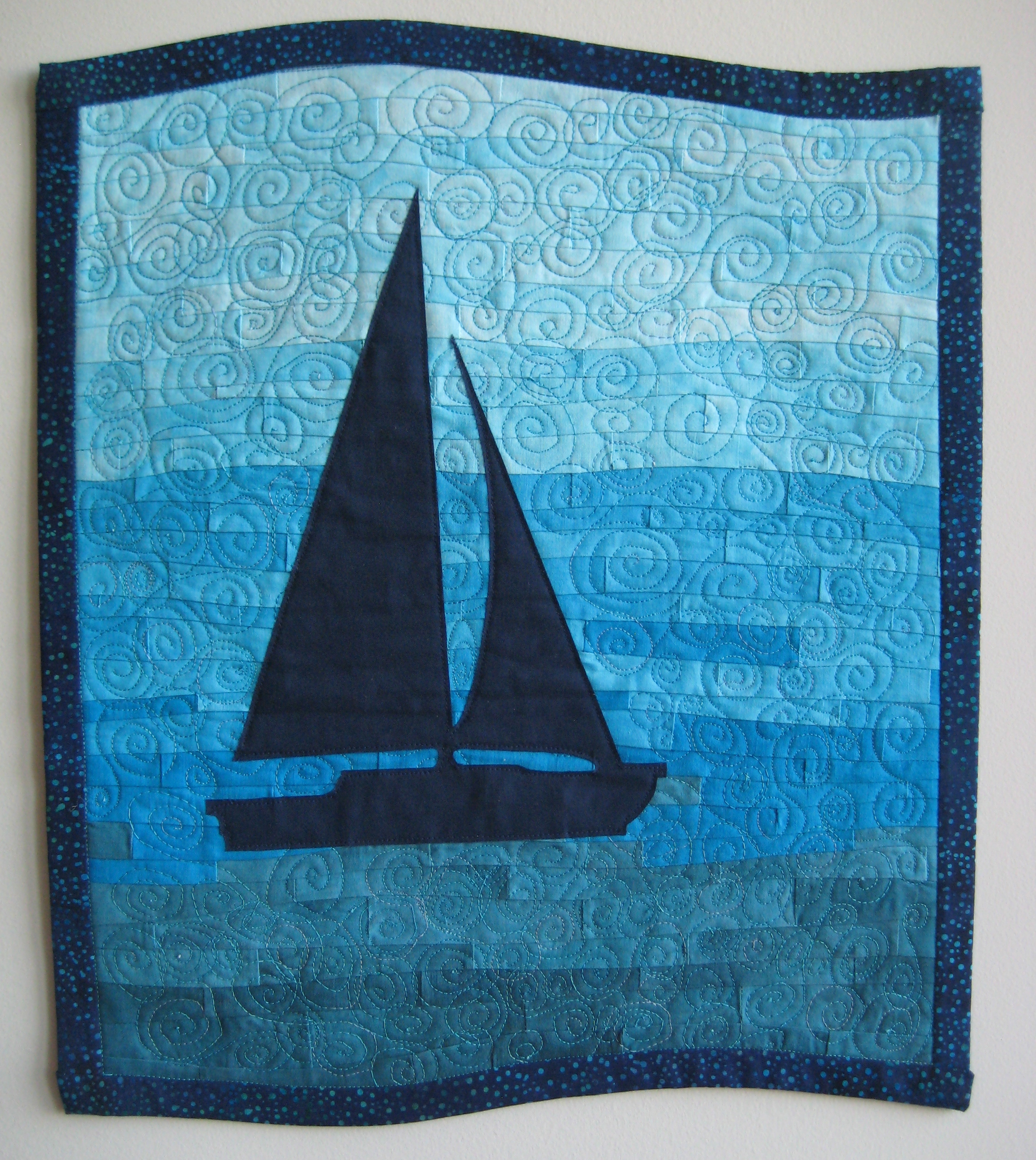 mosaic quilted sailboat
