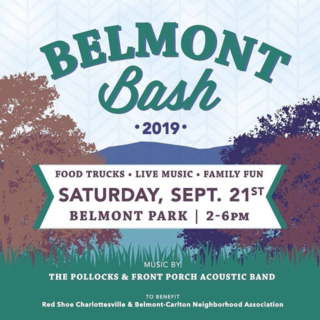 Mark your calendars! This year's Belmont Bash will be held on September 21st from 2-6pm.  Come enjoy this free family friendly event with live music, beer and cider garden, food trucks, and children's activities. @craftcville will be there again this year as well as @dmradventures running the kids' tent with performances, classes, and more!  Stay tuned for more details!