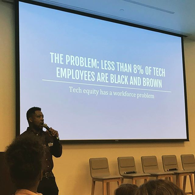 Awesome presentation tonight @kaporcenter by #Oakland teacher Kennan Scott. What a force of nature, working at every level to change the face & future of #technology #workforce. #CodeOakland  @sokanomx_jsf