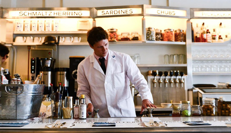 bartender at counter