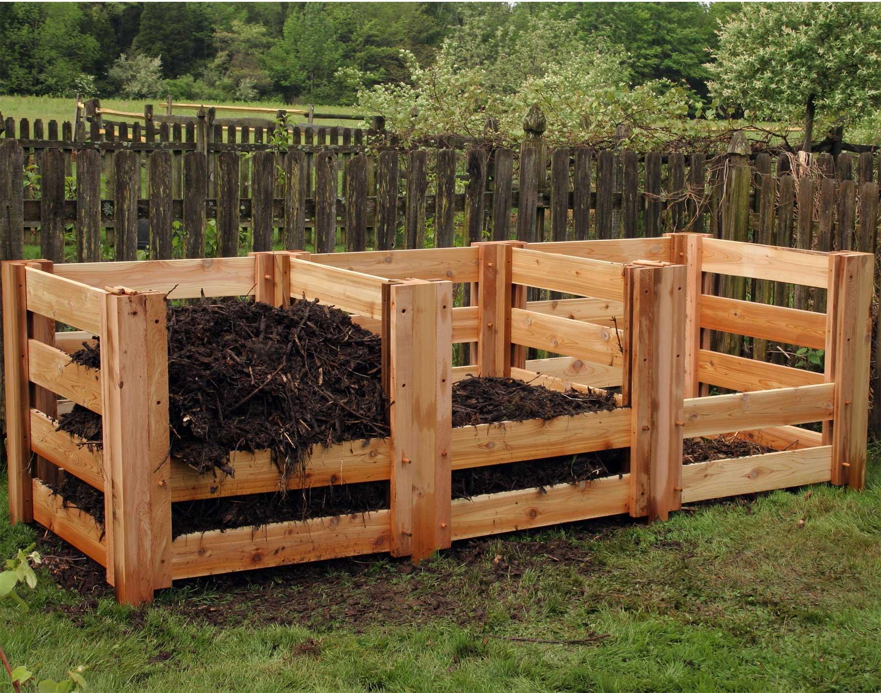 A typical design for a three bin compost heap  Photo Courtesy of: Renoir's Home & Garden