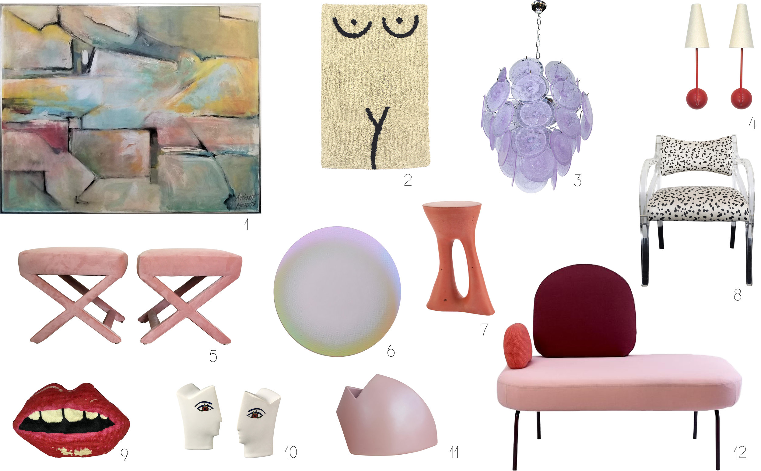 1.  ABSTRACT OIL PAINTING FROM CHAIRISH  / 2.  BATH MAT FROM COLD PICNIC / 3.  MURANO CHANDELIER FROM 1ST DIBS  / 4 . Pair of sconces from chairish  / 5. P air of x-benches from chairish  / 6.  shimmer mirror from abc home  / 7.  side table from souda  / 8.  vintage spotted lucite chair from chairish  / 9.  lips pillow from mommani threads  / 10.  vintage salt & pepper shakers from chairish  / 11.  vintage vase from chairish  / 12.  between sofa from bolia