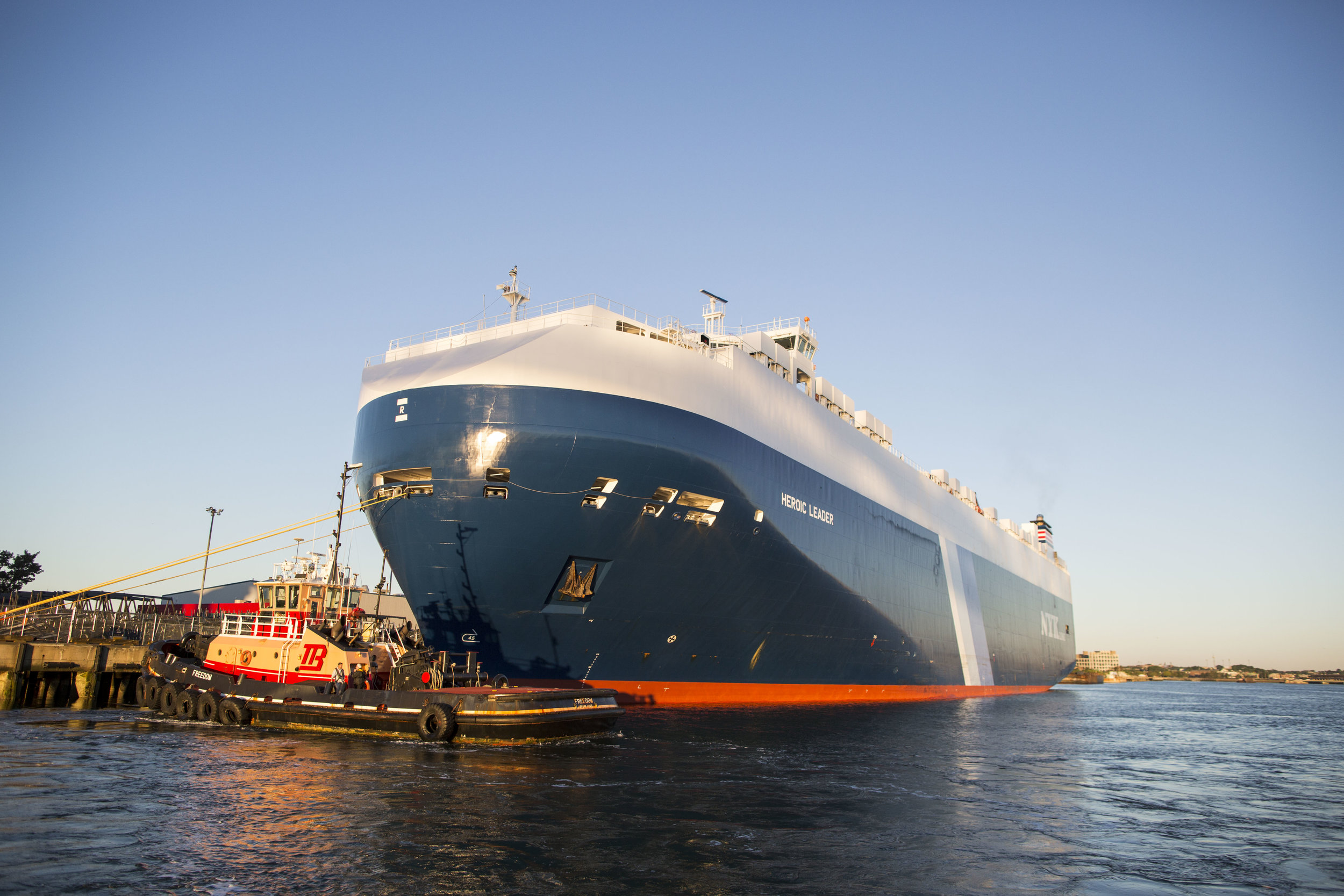 The car carrying ship Heroic Leader successfully and safely docked in port with the help of Boston Harbor Pilot Frank Morton on Aug. 23. The ship will deliver around 1500 brand new Subarus.