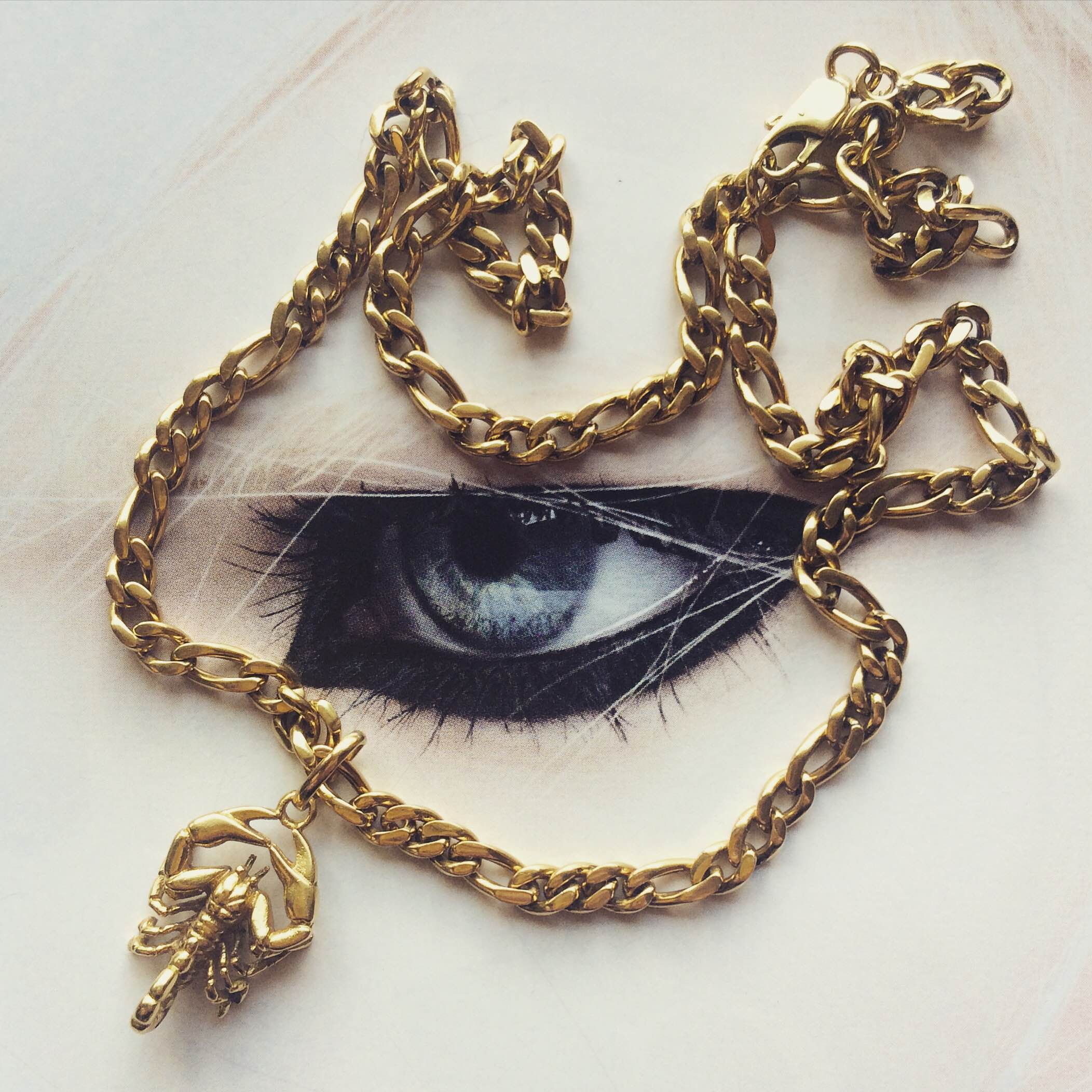 The scorpion pendant Nora inherited from her Dad. Made from solid 18k gold, she assumes it's worth a small fortune.