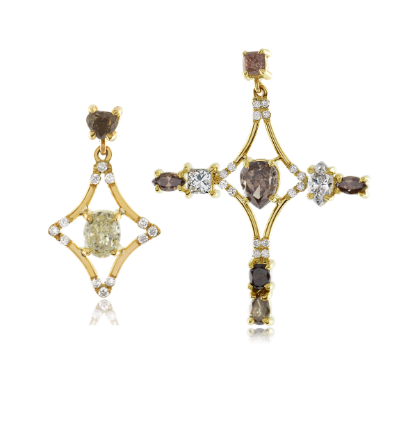Asymmetrical Galaxy earrings in natural colored fancy diamonds, $12,480,  available at Stone & Strand .