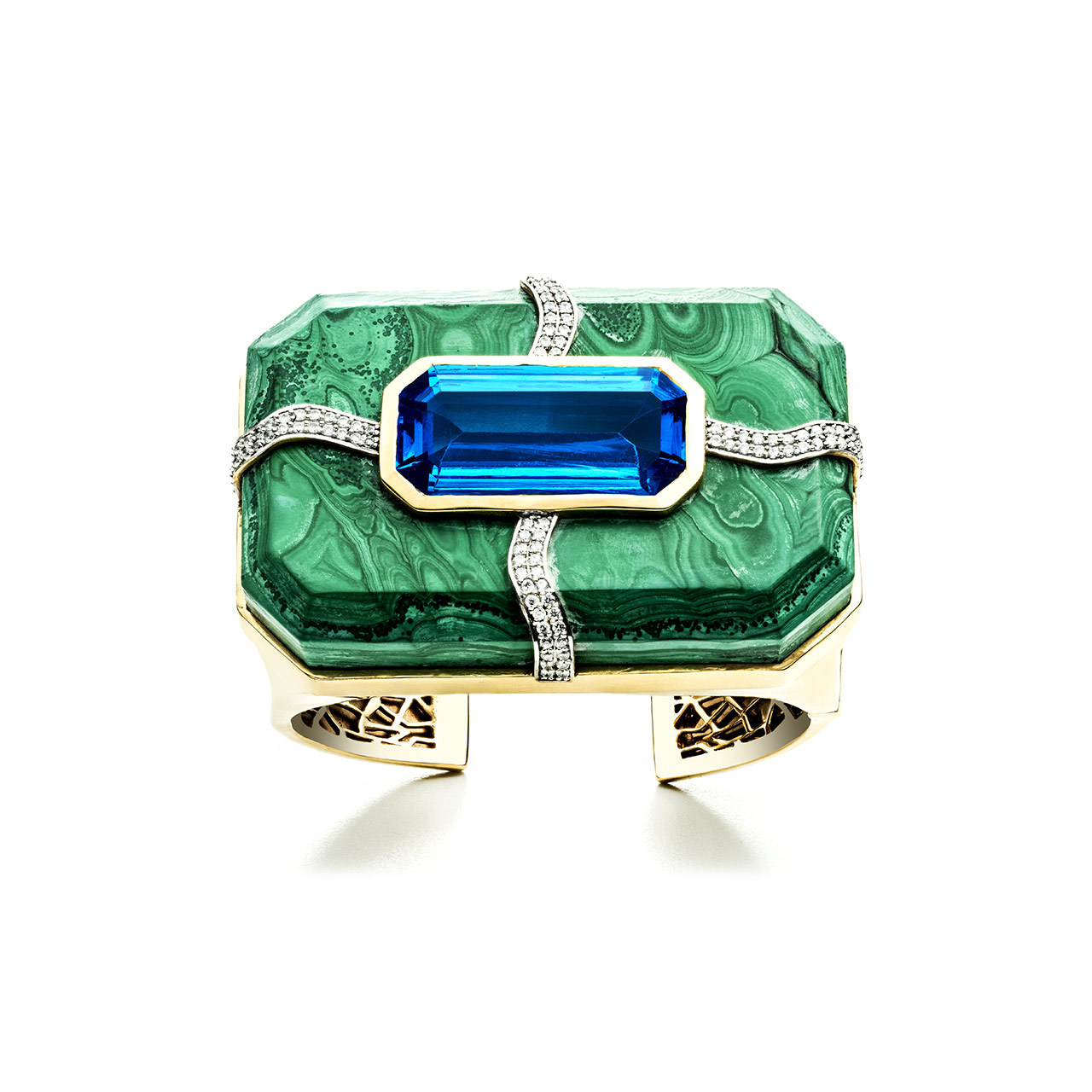 One of our all-time favorite pieces from Kara – the large Lava cuff in malachite set with a blue topaz.