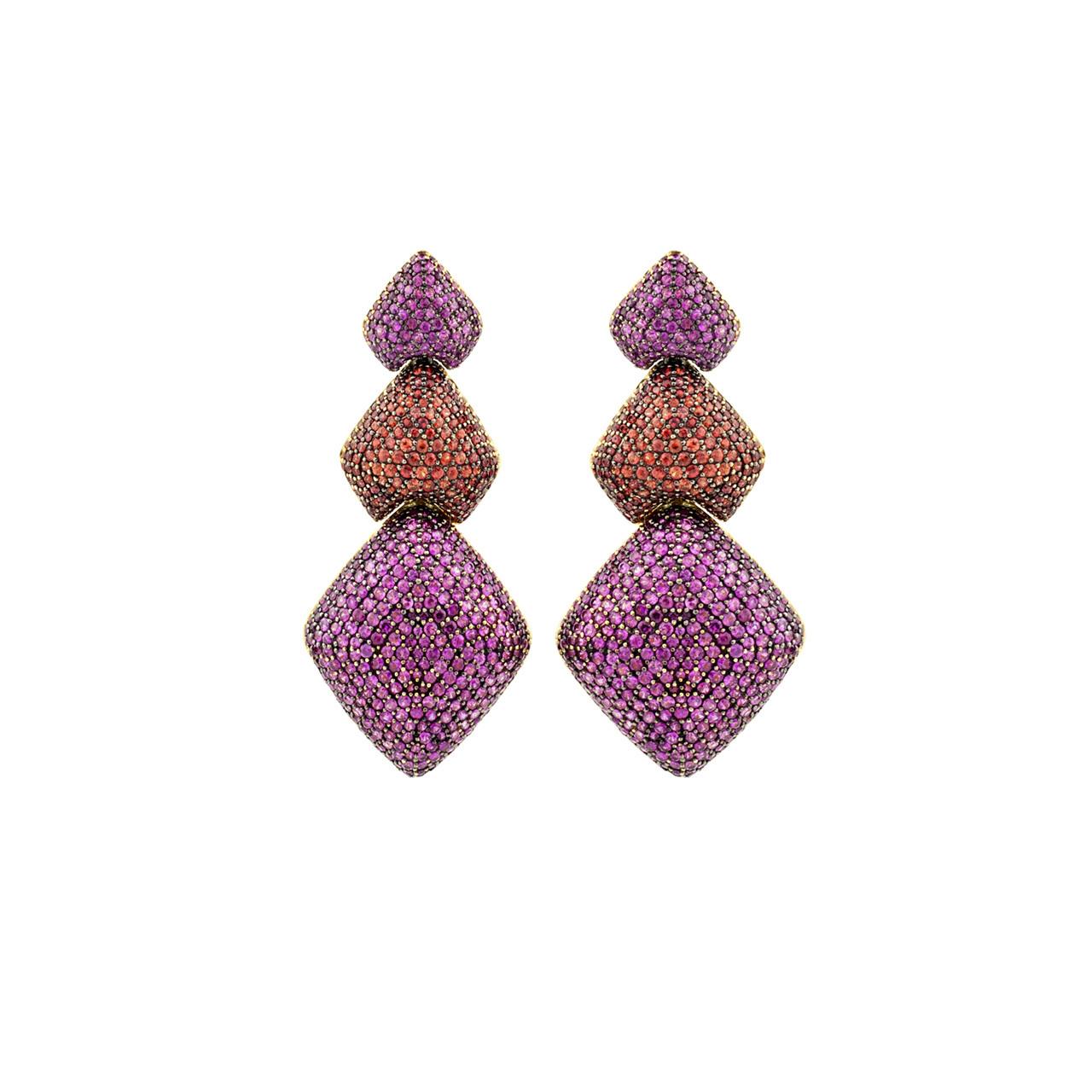 Hydra Triple Diamond Drops  In pink and orange sapphires, $13,995.