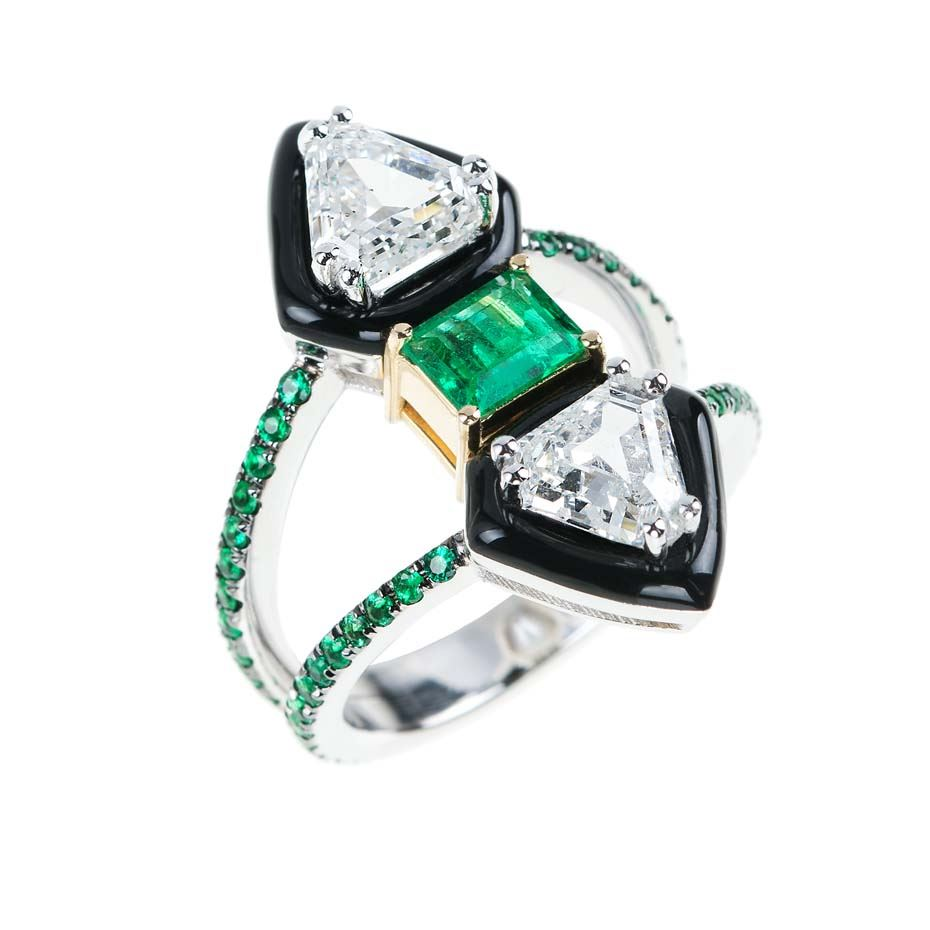 We are obsessing over the new line of Oui engagement rings with emeralds, diamonds and black enamel.