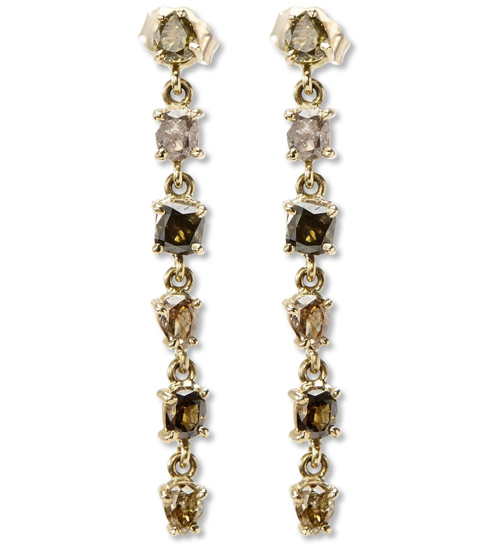 Stardust earrings in natural fancy color diamonds, $5,125, available at  Just One Eye .
