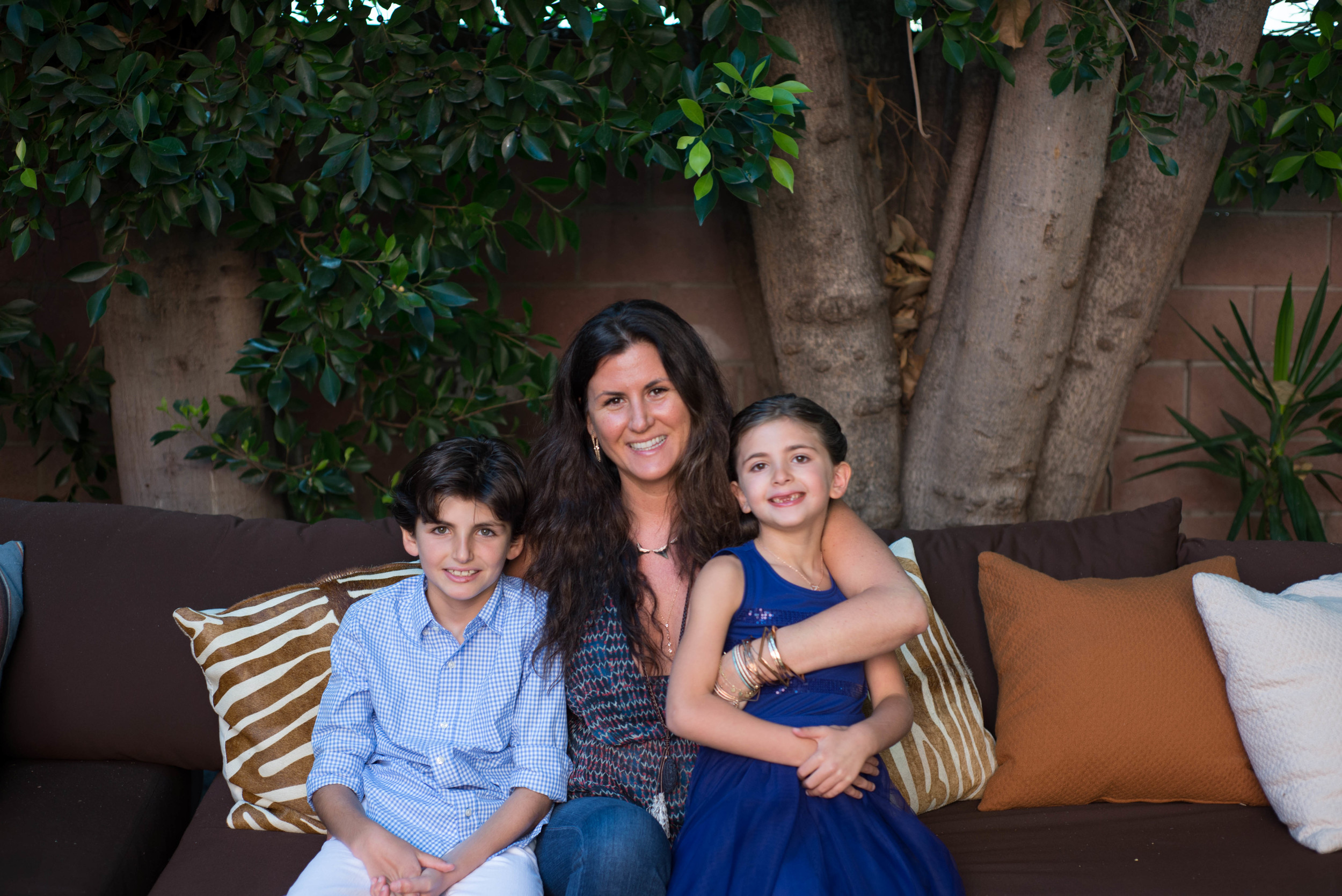With her children,Luca and Zoe.