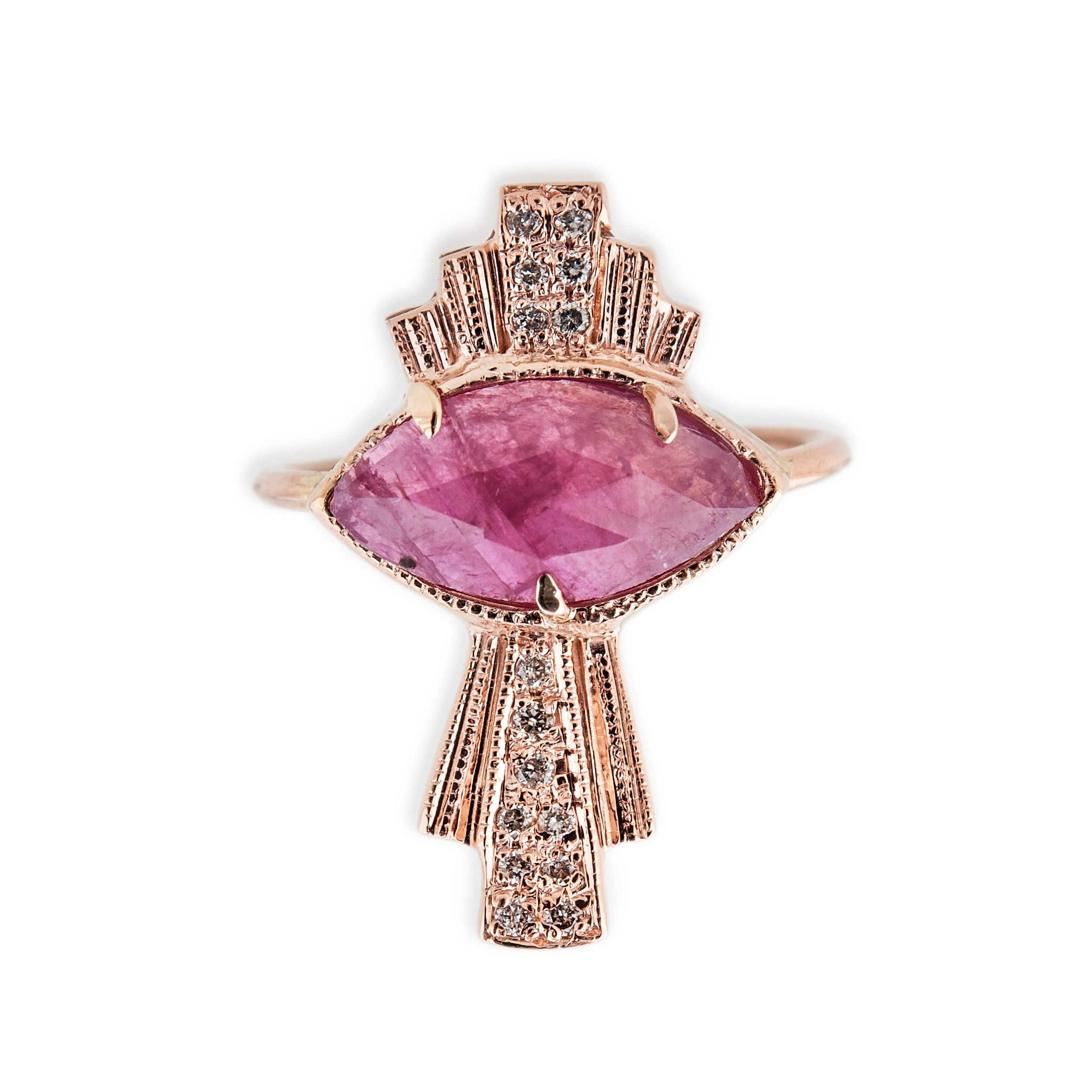 Indian Ruby Deco Eye Ring, $1,565, available at Broken English.