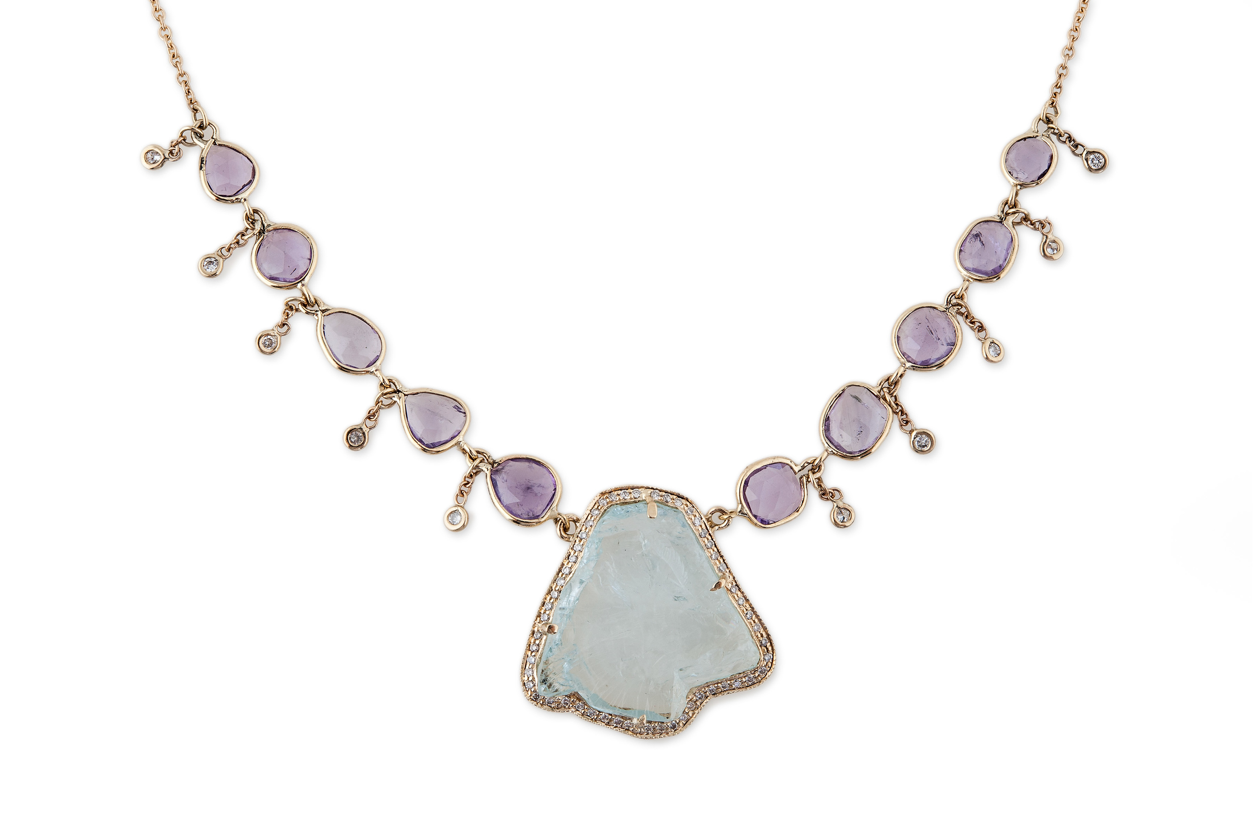 Freeform Aquamarine and Amethyst Shaker Necklace, $8,000, available at  Broken English .