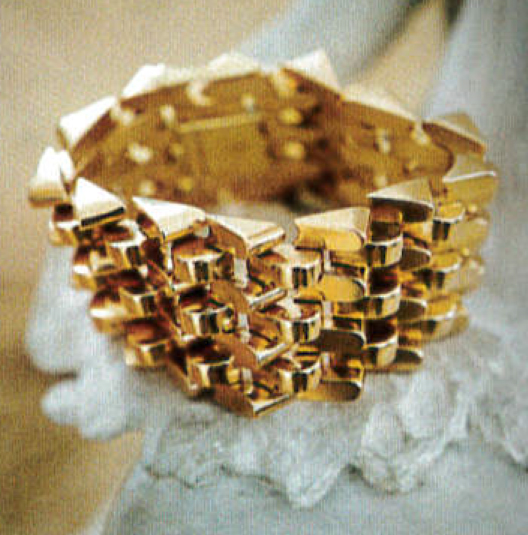 Monica's rose gold bracelet, a gift from her husband Rod.