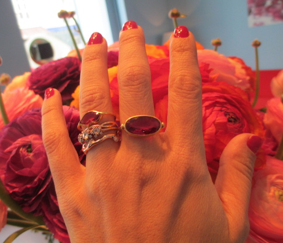 The Marie Helene de Taillac ring (middle finger) that Claudia has her eye on.