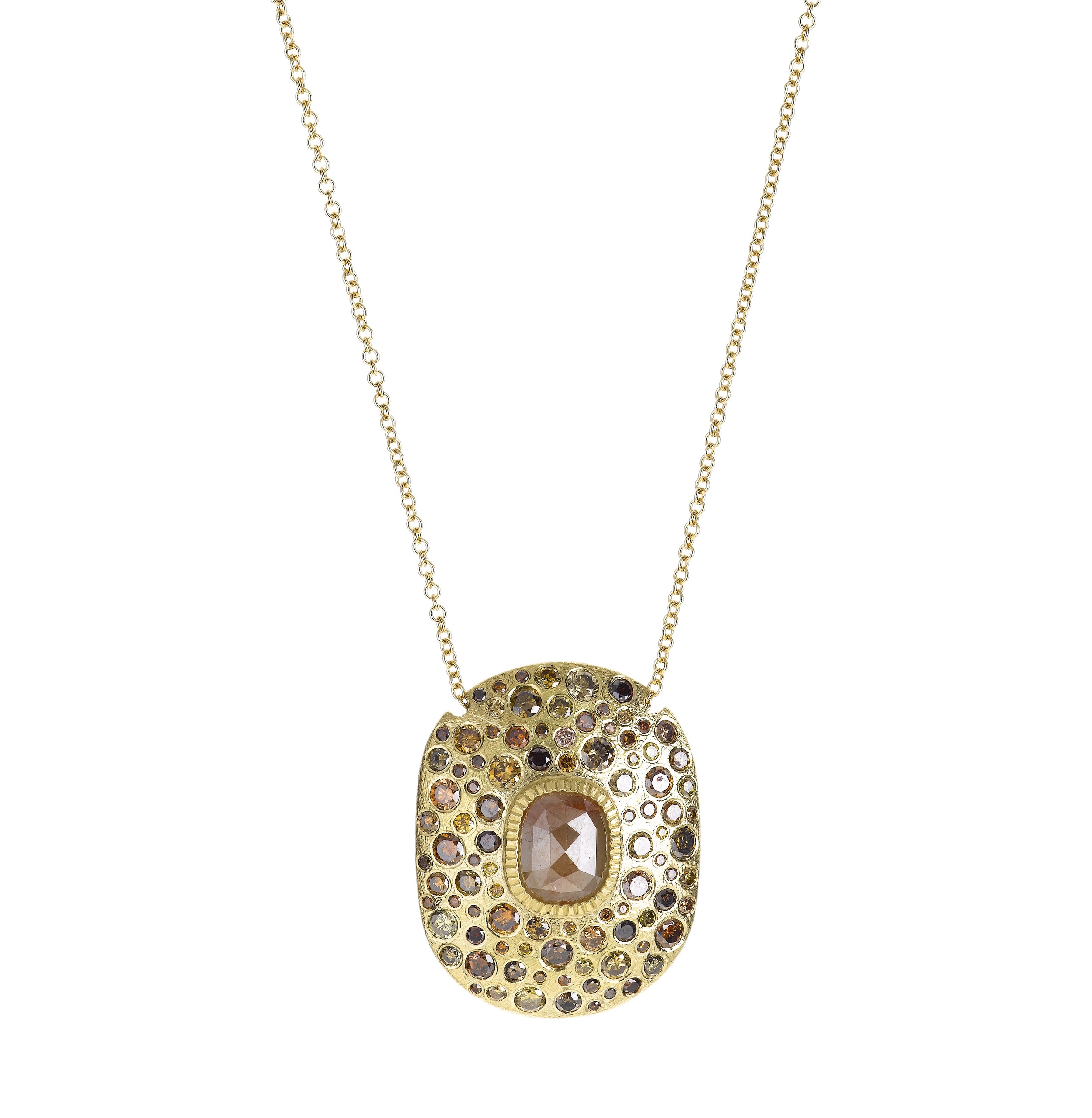 Pendant in18k yellow gold, orange fancy cut diamond (1.075ctw), autumn brilliant cut diamonds (1.83ctw), raw diamond cube (0.115ctw), $16,720,  available at Todd Reed .
