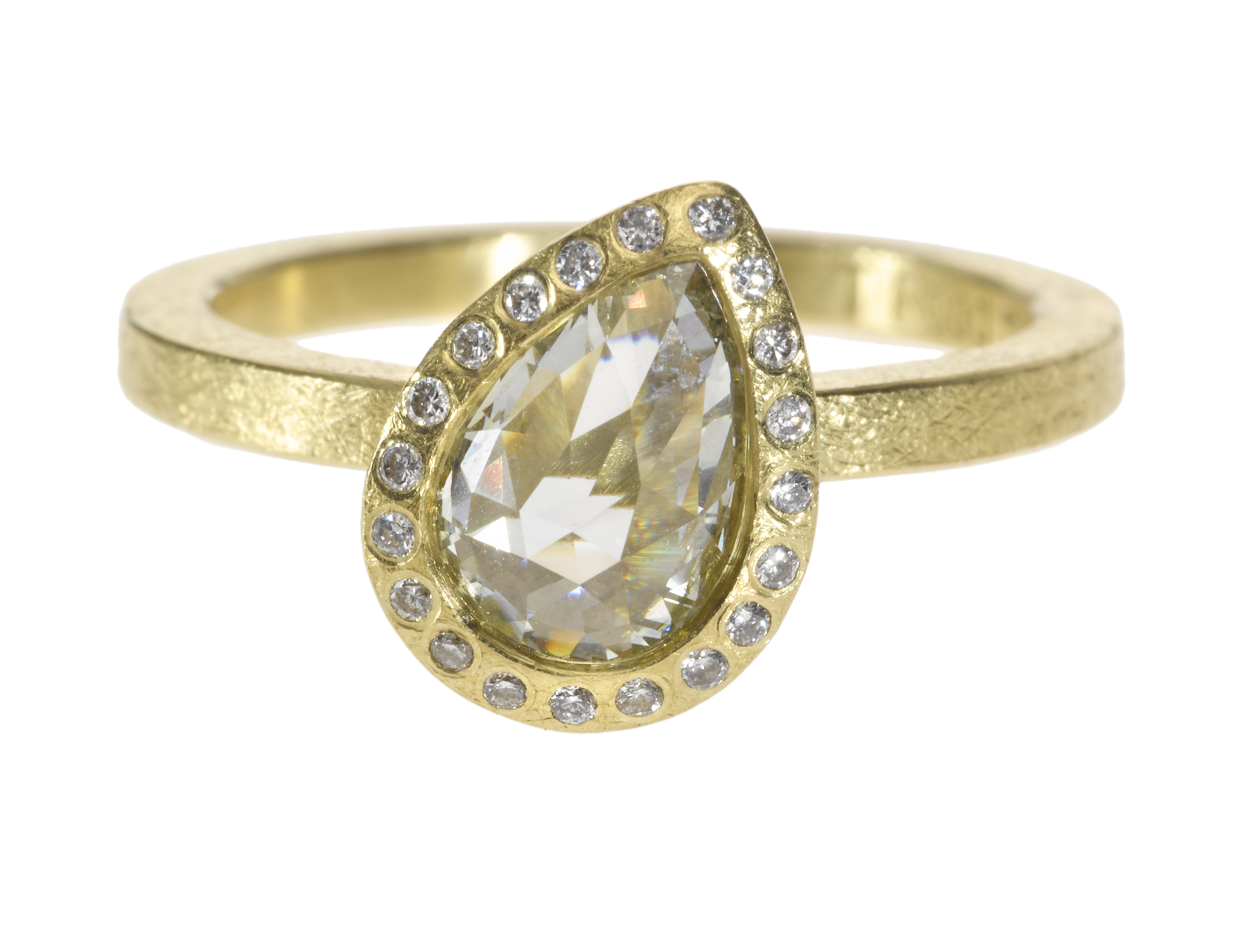 Engagement ring in18k yellowgold withwhite fancy cut diamonds(1.28ctw) andwhite brilliant cut diamonds(.082ctw), $14,740,  available at Todd Reed .