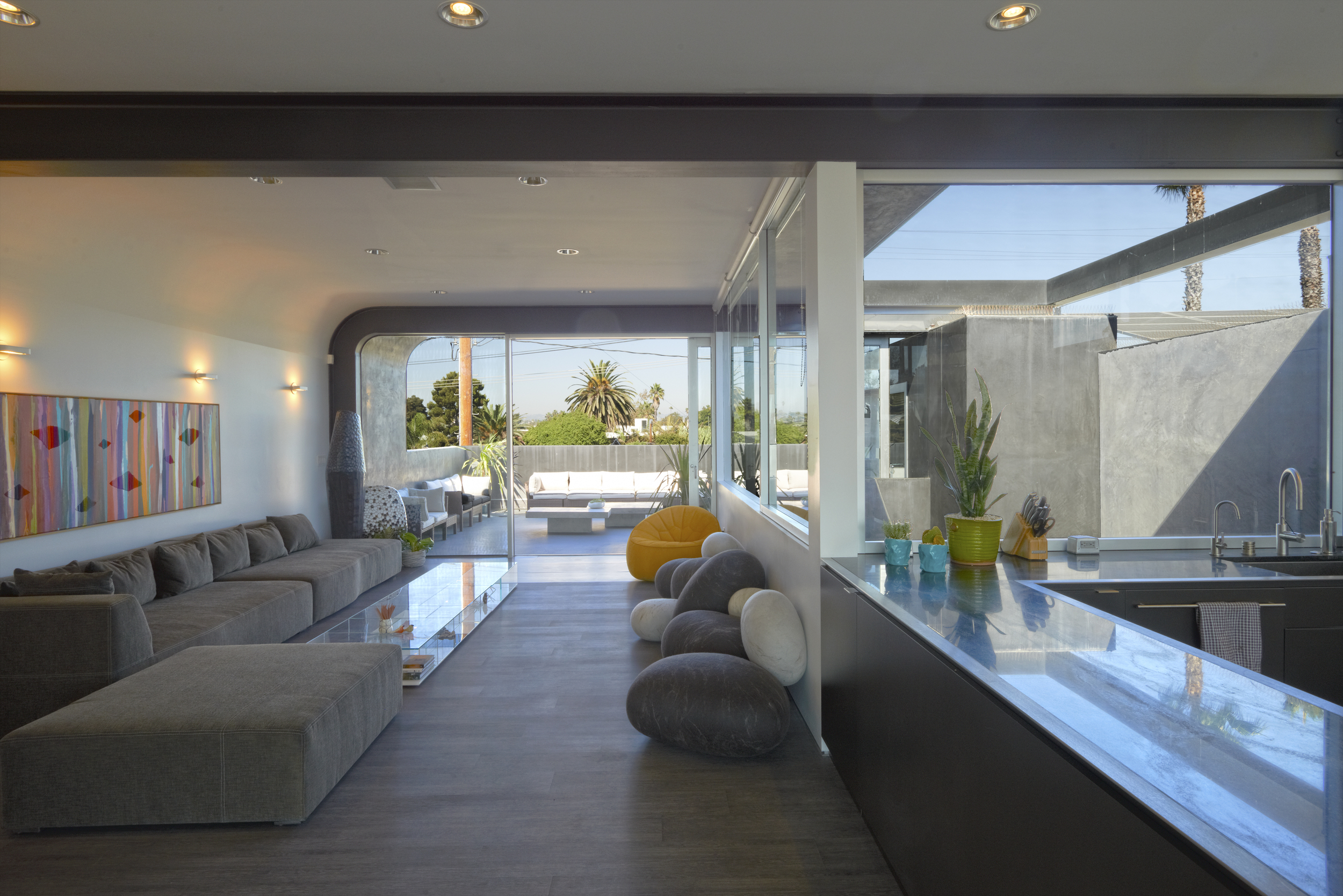 A chic seating area in the multi-level space.