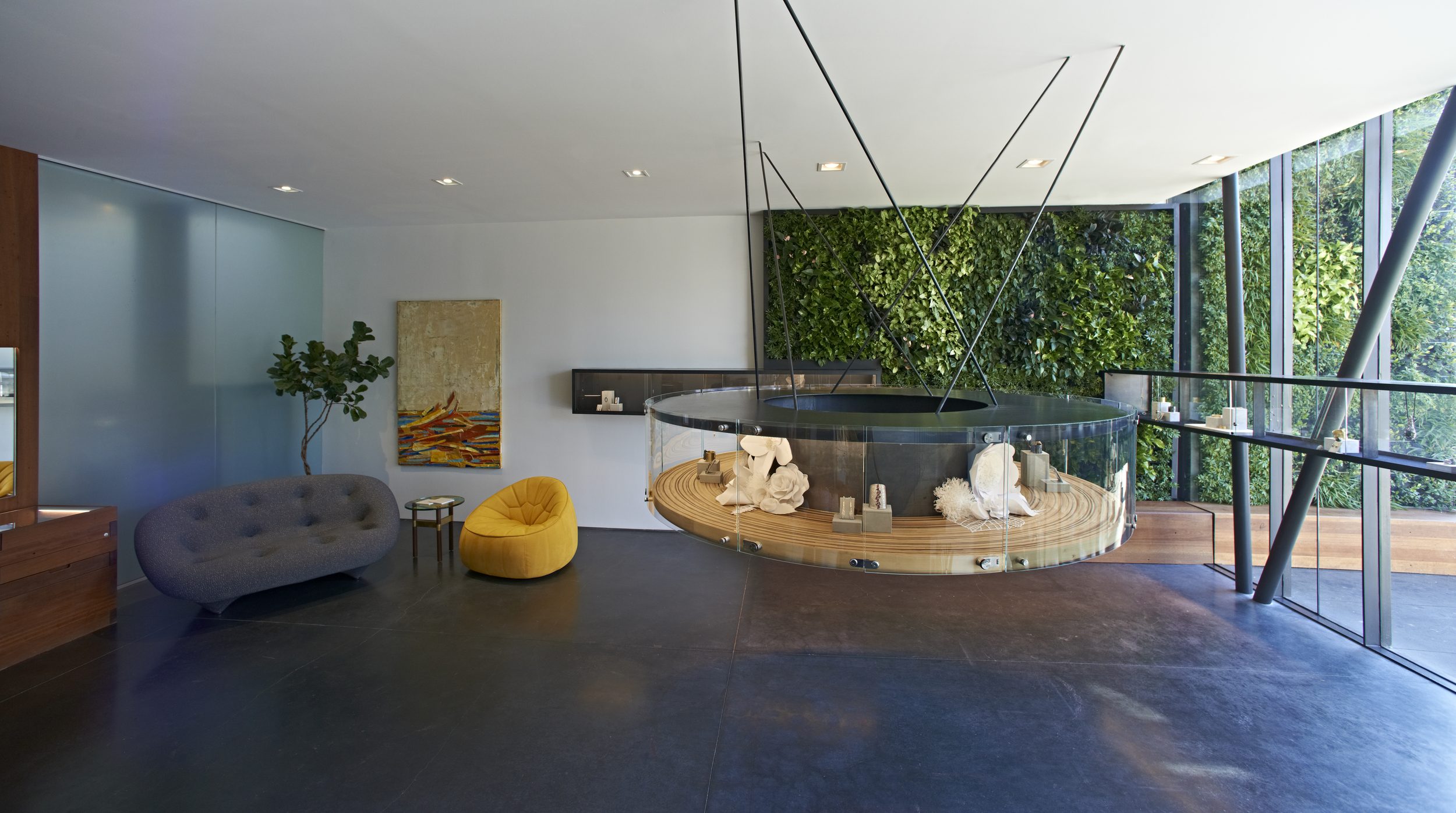 Airy enough? A live plant wall brings the outside in.