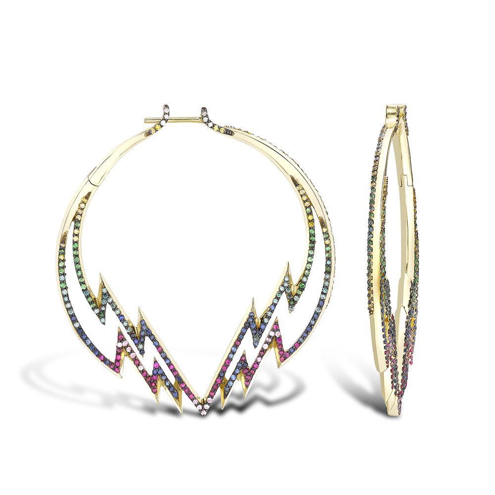 Electric hoops in yellow gold with gemstones.